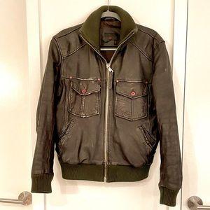 Zara Men Brown Leather Bomber Jacket size M